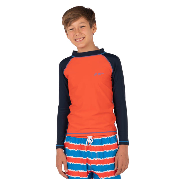 Boy's Slater Long Sleeve Sunguard Kid's Casual 1T / Orange Red Level Six
