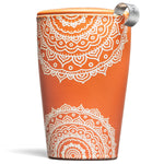 Orange Ceramic Tea Infuser Cup with Basket and Lid for Steeping