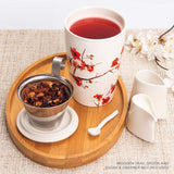 Cherry Blossom Tea Infuser Cup with Basket and Lid for Steeping