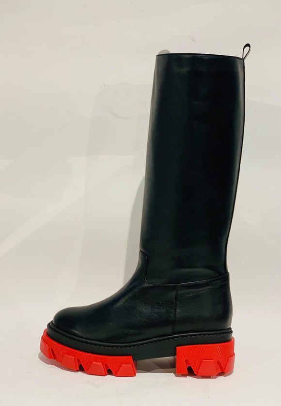 BOOT ILA BLACK/RED GENUINE LEATHER