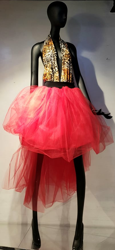 DRESS TULLE ROSSO
