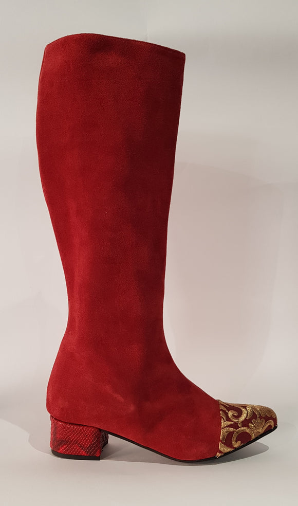 BOOT RED SUEDE