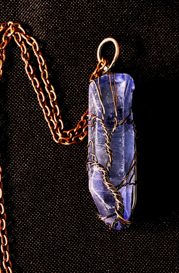Blue Quartz Point Wire Wrapped Tree of Life - Bronze