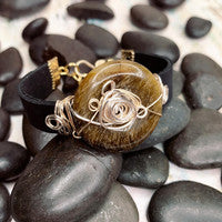 Load image into Gallery viewer, Black Leather and Tiger Eye Bracelet