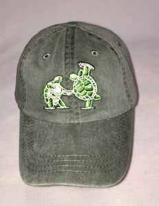Terrapin Station: Banjo and Frisbee Playing Terrapins embroidered on grey baseball cap
