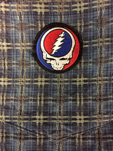 Grateful Dead Patches on Recycled Button Down Shirts