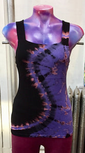 Purple Black Tie-Dye Criss Cross Top