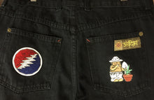Load image into Gallery viewer, Vintage Satori Black Hemp Jeans with Grateful Dead Patches - Size 32/31