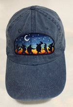 Load image into Gallery viewer, Moondance Under the Night Sky on denim adjustable baseball cap