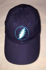 Grateful Dead Embroidered Bolt on Blue Baseball Cap