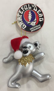 Grateful Dead Dancing Bear with Santa Hat Christmas Ornament - 4 Colours