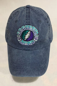 Grateful Dead Embroidered Bolt  on blue denim adjustable baseball cap