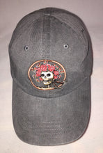 Load image into Gallery viewer, Skull and Roses (AKA Bertha) embroidered on grey baseball cap