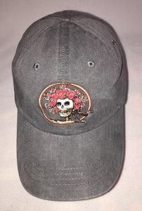 Skull and Roses (AKA Bertha) embroidered on grey baseball cap