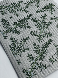 Juniper Greens on Grey Sponge Cloth