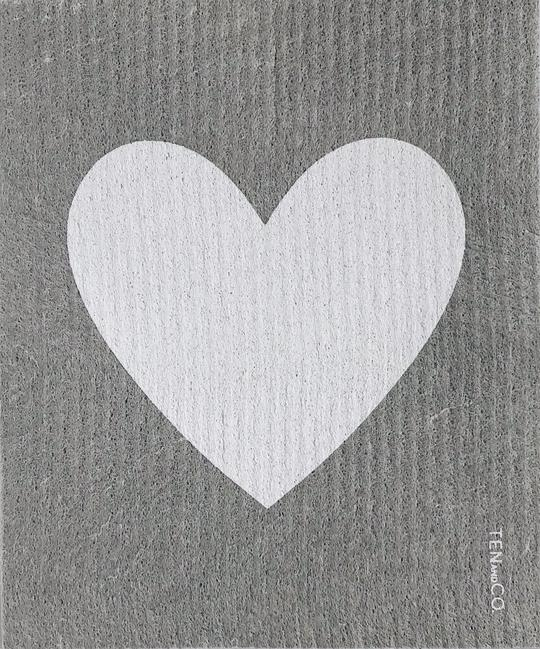 Big Love White on Grey Sponge Cloth