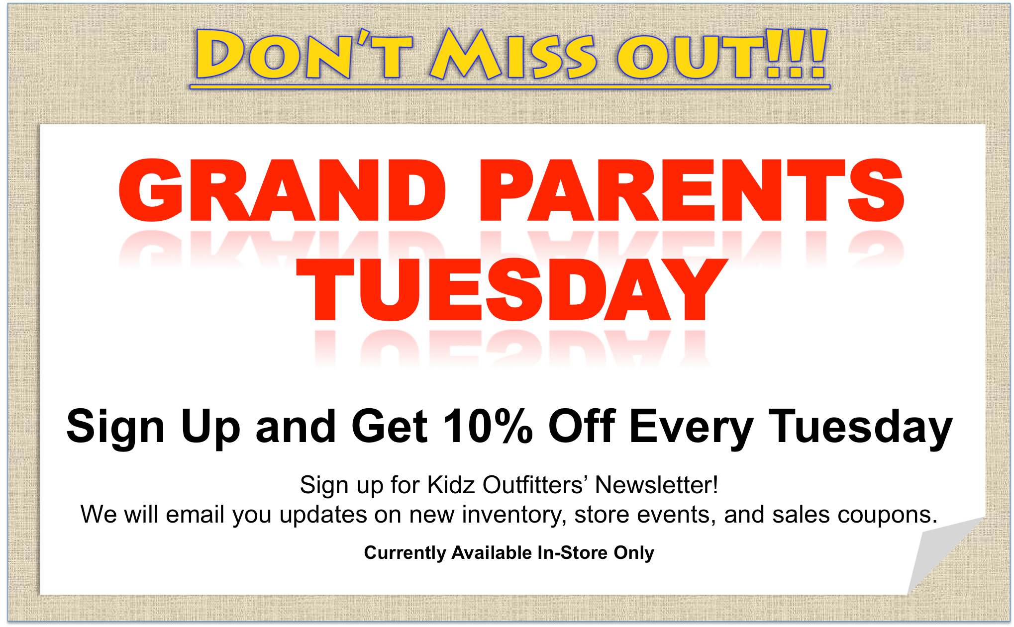 Kidz Outfitters  Grand Parents Day Even - www.kidzoutfitters.com