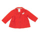 12 Months Girls Carter's Top - Long Sleeves Orange cotton knit, pleated front, rounded collar and pockets, large orange buttons, and hearts applique on left.