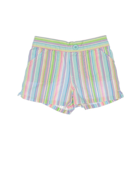 12 Months Girls Circo Shorts Striped woven cotton in mult-colors,  pull-on style with decorative button on waist, and has four pockets.