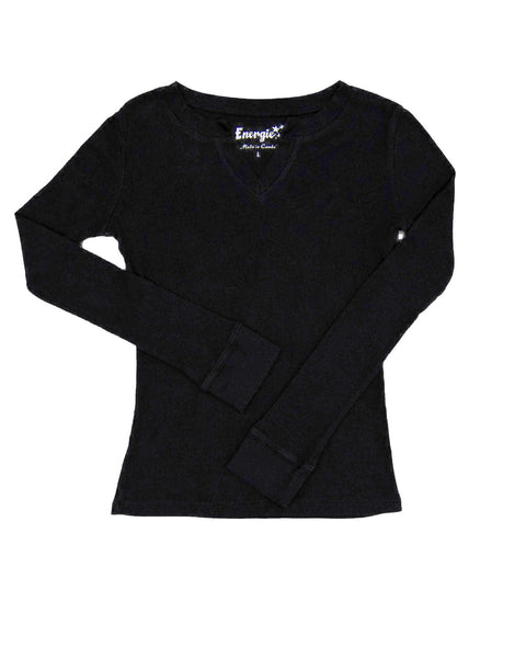 14 Years Girls Energie Top - Long Sleeves Black long sleeved top in ribbed cotton knit with V neck.