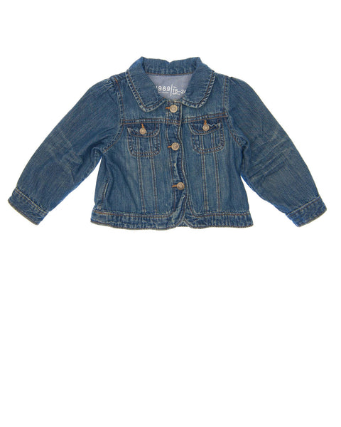 18-24 Months Girls Baby Gap Jacket Faded wash denim with rounded collar, lightly puffed long sleeves, rounded hem on front, buttoned front closure, pocket flaps and wrists.