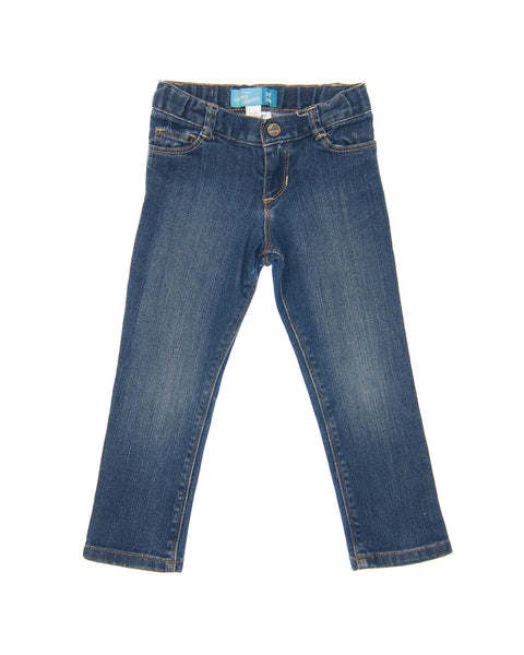 3 T Girls Old Navy Jeans Skinny fit in dark denim with accent faded wash on legs, five pockets, tan stitching, snap and zipper front closure, and adjustable waist.