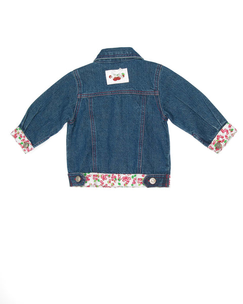 6-9 Months Koala Kids Jacket Koala Kids, Jacket, 6-9 Months, Girl, Denim with cherry printed trim, red stitching rhinestone center buttons