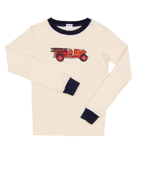 8  Years Boys Gymboree Shirt - Long Sleeves Long sleeved shirt in cream cotton knit with dark blue strim and fire truck embroidered on chest.
