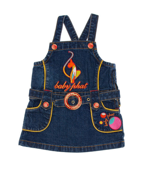 3-6 Months Girls baby phat Jumper Dark blue denim with elaborate brand embroidery, buttons, and belt buckle in bright colors and gold on front and back, accent gold piping, adjustable straps, zipper on left side for closure.