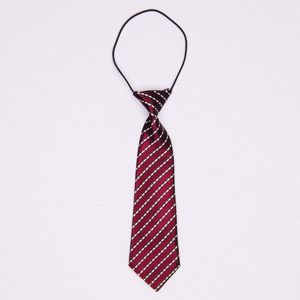 Kidz Outfitters 10.5 Inches Fine Striped Necktie by Kidz Outffiters - KidzOutfitters.com Item  C1200037 Dark Red