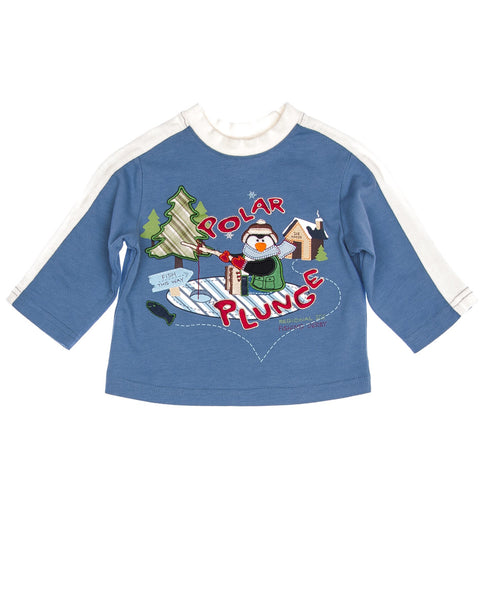 Kidz Outffiters 12 Months Boys Shirt by Starting Out - Blue long sleeved pullover shirt with white trim and embroidered ice fishing penguin scene. Color: Blue Material: 100% Cotton Condition: Like New