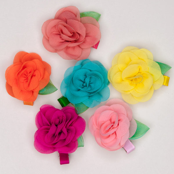 Chiffon Flower Hair Clips
