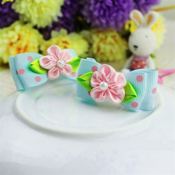 Kidz Outfitters 2 Inches Grosgrain Bows Hair Tie by Kidz Outffiters - KidzOutfitters.com Item  C1200026 Blue & Pink