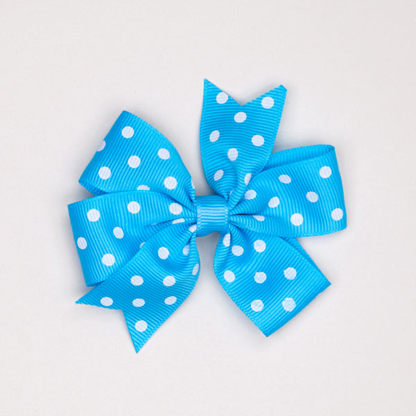Kidz Outfitters 3 Inches Polka Dots Bow Hair Clips by Kidz Outffiters - KidzOutfitters.com Item  C1200002 Blue