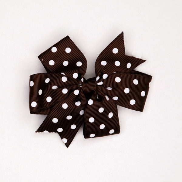 Kidz Outfitters 3 Inches Polka Dots Bow Hair Clips by Kidz Outffiters - KidzOutfitters.com Item  C1200002 Brown