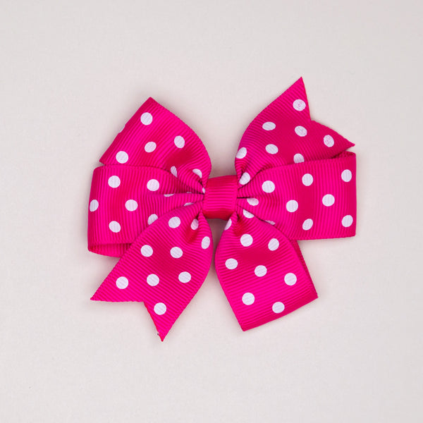 Kidz Outfitters 3 Inches Polka Dots Bow Hair Clips by Kidz Outffiters - KidzOutfitters.com Item  C1200002 Fuchsia