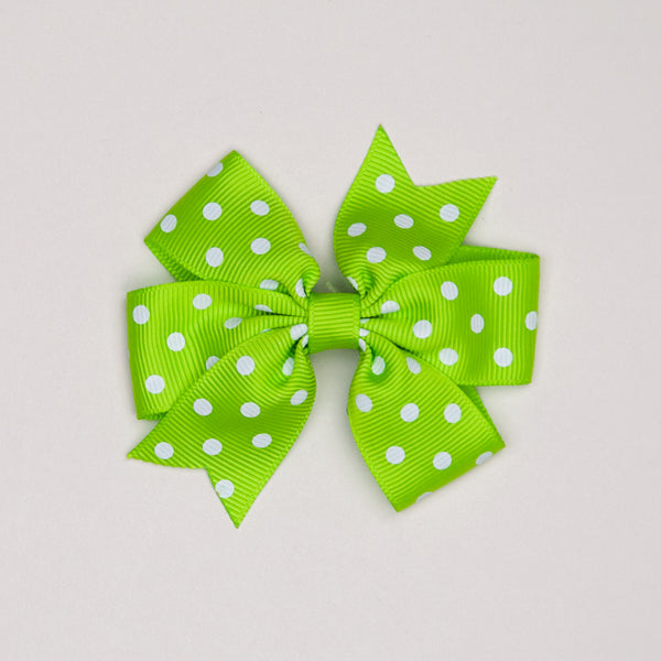 Kidz Outfitters 3 Inches Polka Dots Bow Hair Clips by Kidz Outffiters - KidzOutfitters.com Item  C1200002 Green