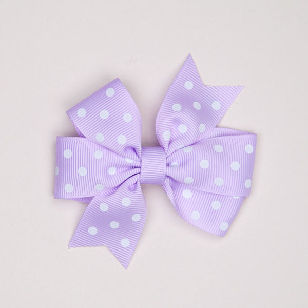 Kidz Outfitters 3 Inches Polka Dots Bow Hair Clips by Kidz Outffiters - KidzOutfitters.com Item  C1200002 Lavender
