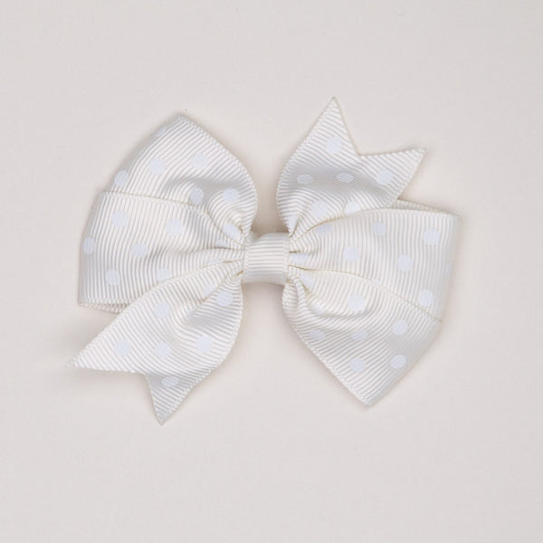 Kidz Outfitters 3 Inches Polka Dots Bow Hair Clips by Kidz Outffiters - KidzOutfitters.com Item  C1200002 Milk