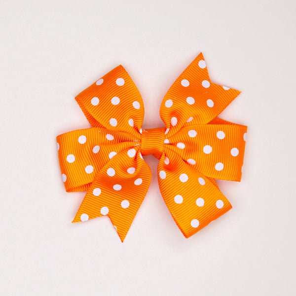 Kidz Outfitters 3 Inches Polka Dots Bow Hair Clips by Kidz Outffiters - KidzOutfitters.com Item  C1200002 Orange