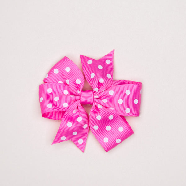 Kidz Outfitters 3 Inches Polka Dots Bow Hair Clips by Kidz Outffiters - KidzOutfitters.com Item  C1200002 Pink