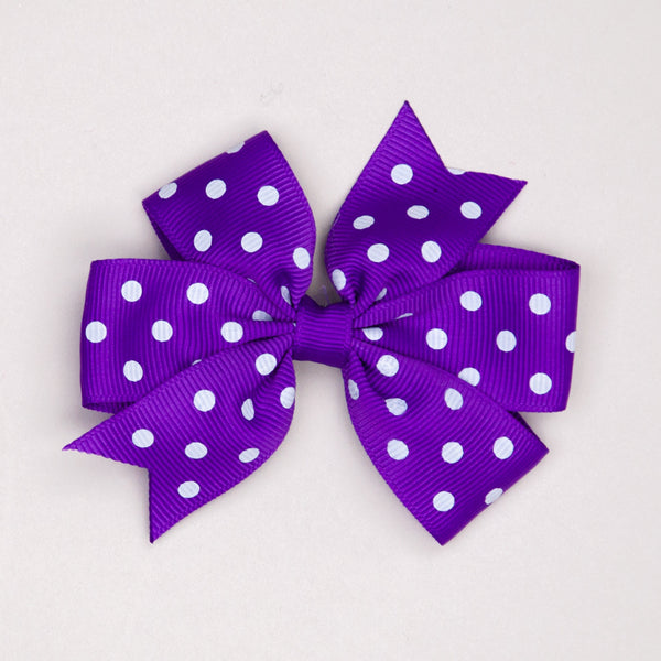 Kidz Outfitters 3 Inches Polka Dots Bow Hair Clips by Kidz Outffiters - KidzOutfitters.com Item  C1200002 Purple