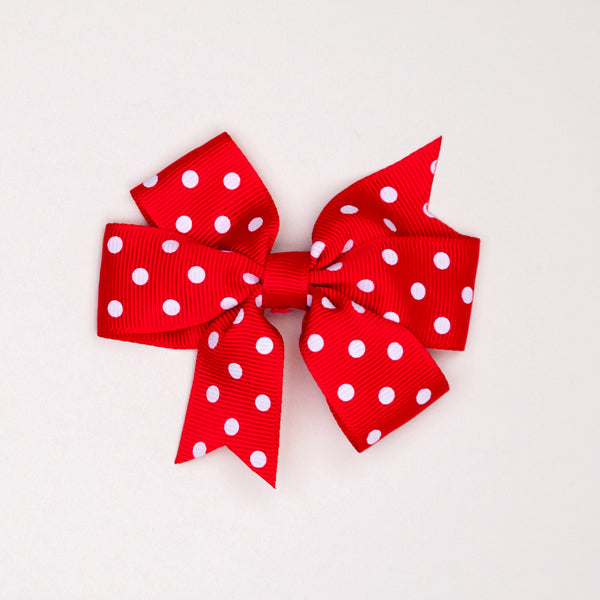 Kidz Outfitters 3 Inches Polka Dots Bow Hair Clips by Kidz Outffiters - KidzOutfitters.com Item  C1200002 Red