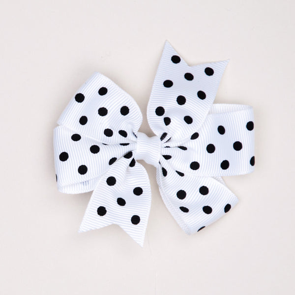 Kidz Outfitters 3 Inches Polka Dots Bow Hair Clips by Kidz Outffiters - KidzOutfitters.com Item  C1200002 White