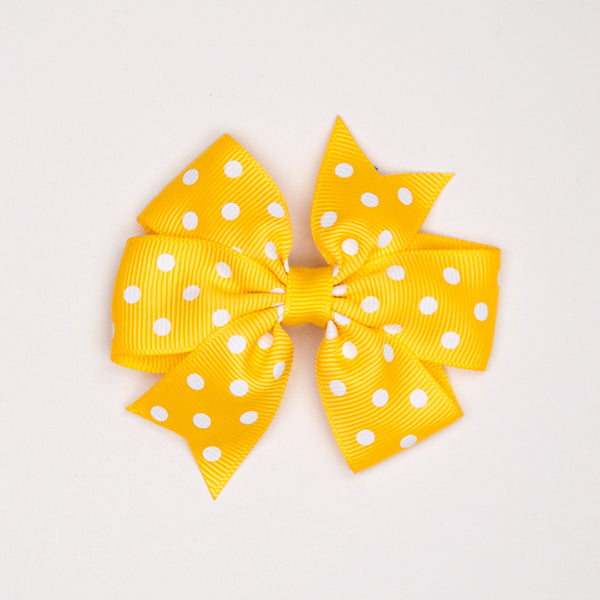 Kidz Outfitters 3 Inches Polka Dots Bow Hair Clips by Kidz Outffiters - KidzOutfitters.com Item  C1200002 Yellow