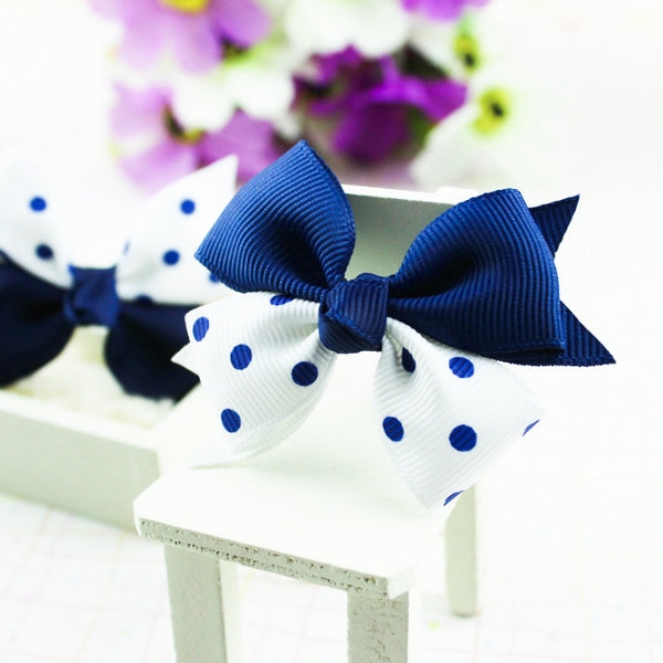 Kidz Outfitters Blue & Red Grosgrain Bows Hair Tie by Kidz Outffiters - KidzOutfitters.com Item  C1200028A Blue