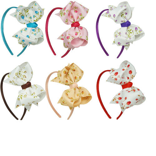 Floral Grosgrain Bow Hairbands