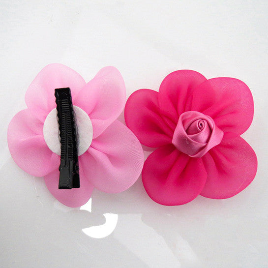 Organza Flower Hair Clips