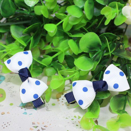 Kidz Outfitters Polka Dot Bow Hair Clips by Kidz Outffiters - KidzOutfitters.com Item  C1200033 Navy & White