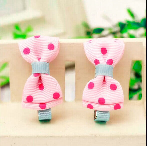 Kidz Outfitters Polka Dot Bow Hair Clips by Kidz Outffiters - KidzOutfitters.com Item  C1200033 Pink & Blue 2